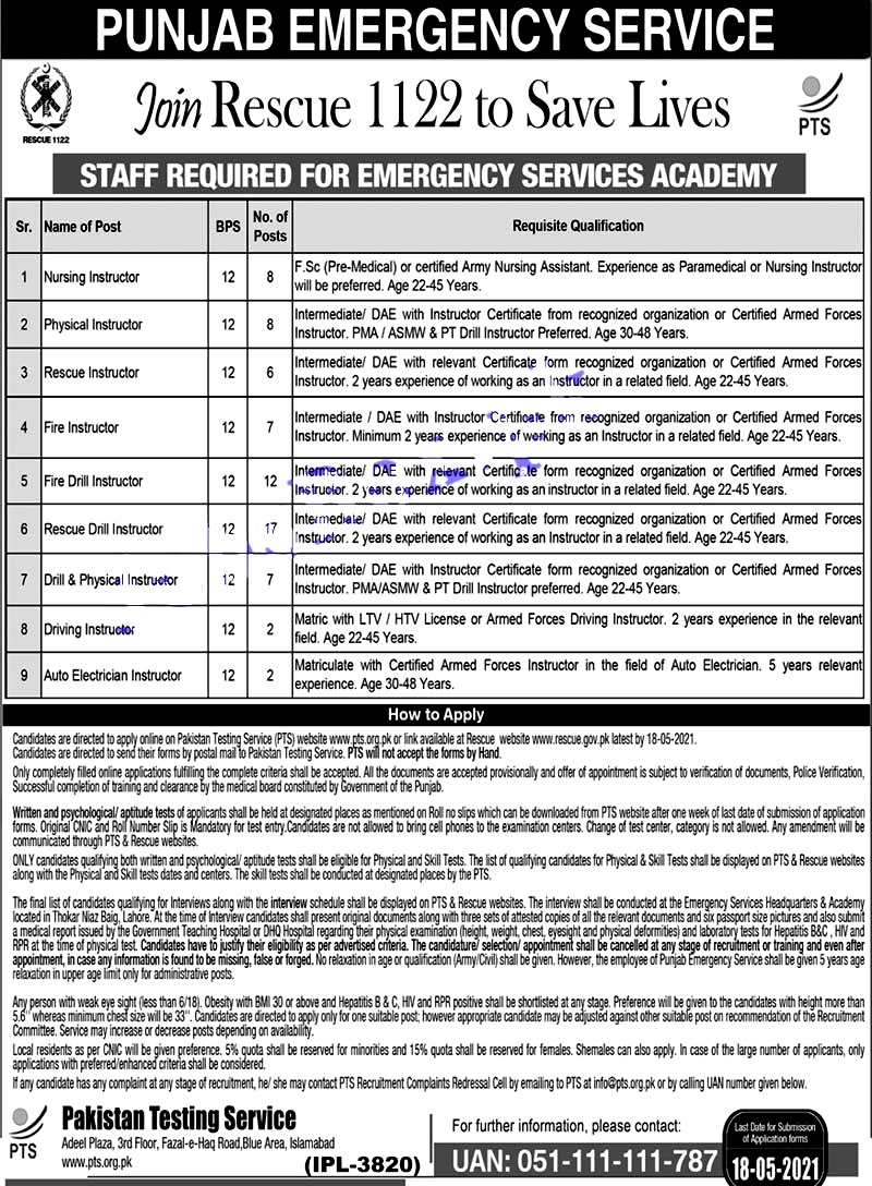 Latest Jobs in Punjab Emergency Service Rescue 1122 -Apply Online 2021