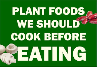 """Text """"Plant foods we should cook before eating"""" on a green background"""