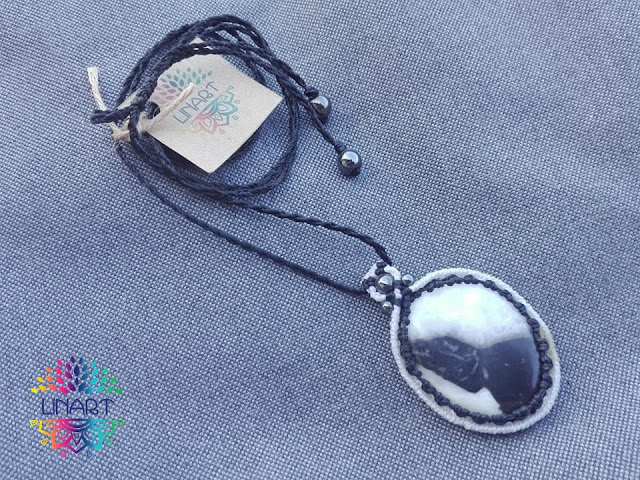 Naszyjnik makrama z jaspisem
