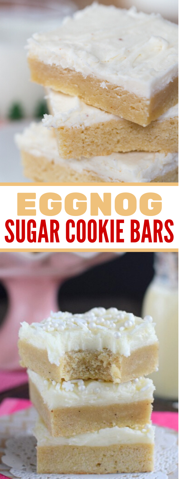 EGGNOG SUGAR COOKIE BARS #desserts #sweettreat