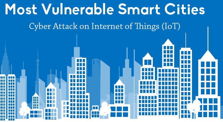 Most Vulnerable Smart Cities to Cyber Attack on Internet of Things (IoT)