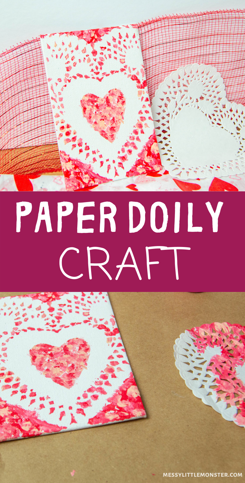 Heart craft for kids. An easy and fun paper doily craft for Valentine's Day or Mother's Day.
