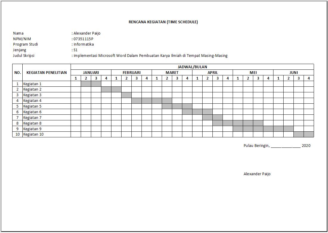 Membuat Lembar Rencana Kegiatan Time Schedule Penelitian Skripsi Menggunakan Excel Tutup Kurung