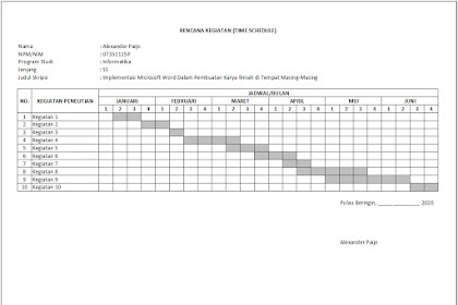 Membuat Lembar Rencana Kegiatan (Time Schedule) Penelitian Skripsi Menggunakan Excel