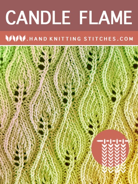 Hand #Knitting Stitches - Candle Flame Lace Pattern #knitlace