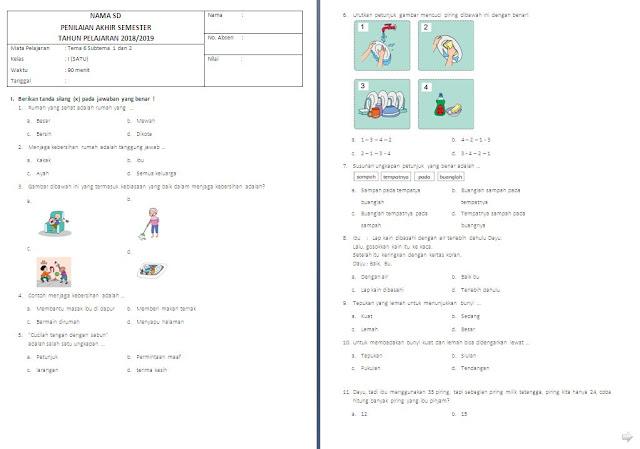 Soal UTS Kelas 1 SD/MI: Tema 6 Subtema 1 dan 2