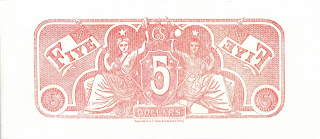 Confederacy $5 bill back printed in red ink