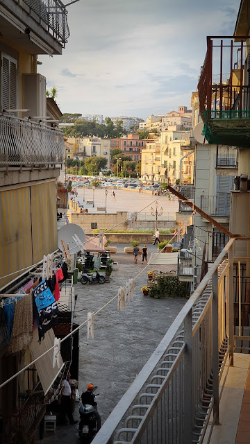 Pozzuoli, Italy; Bay of Naples - view from our rented flat