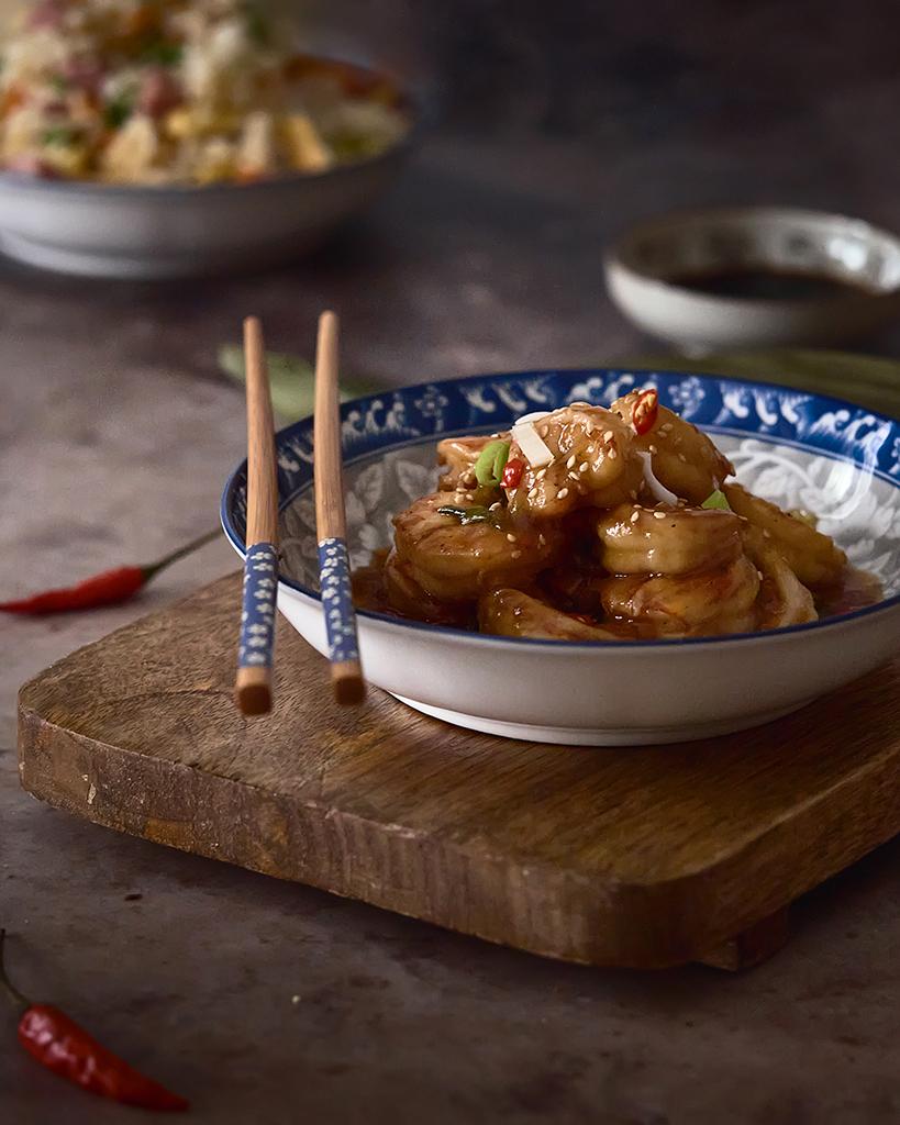 langostinos con ajos en salsa de ostras