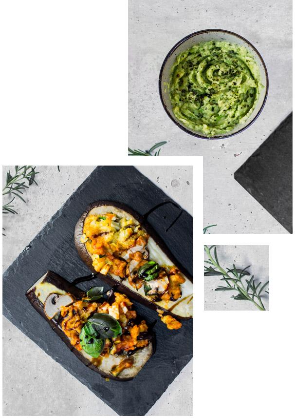 Auberginen-Pizza und Avocado-Dip