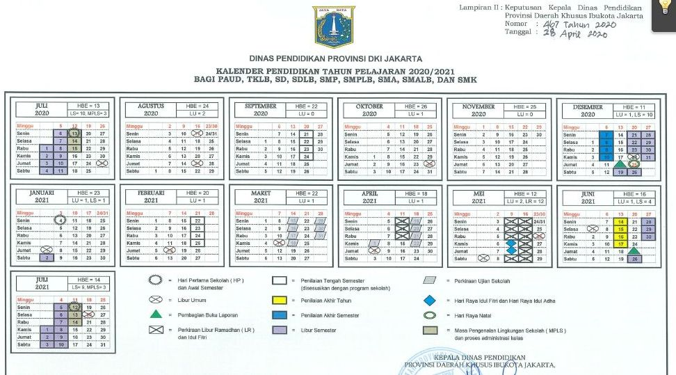 Kalender Pendidikan Tahun Pelajaran 2020/2021 DKI Jakarta ...