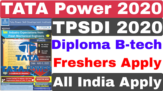 Tata Power 2020 | Diploma B-tech | TPSDI 2020 | Tata Power Job