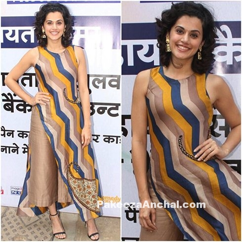 Tapsee Pannu in a striped Long Top with high waist pants