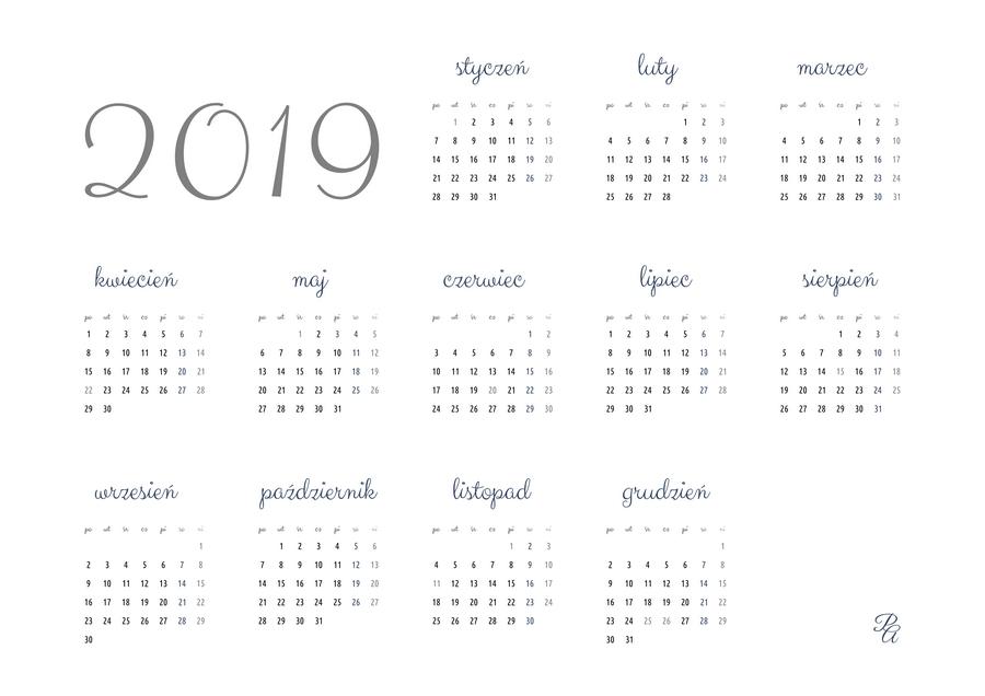 kalendarz 2019 kolor