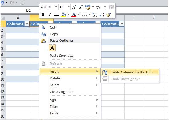cara menambah kolom tabel di excel