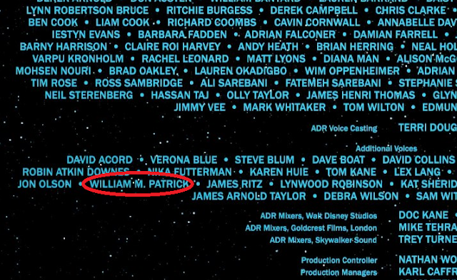 Hamill credited as William M. Patrick in the Solo film