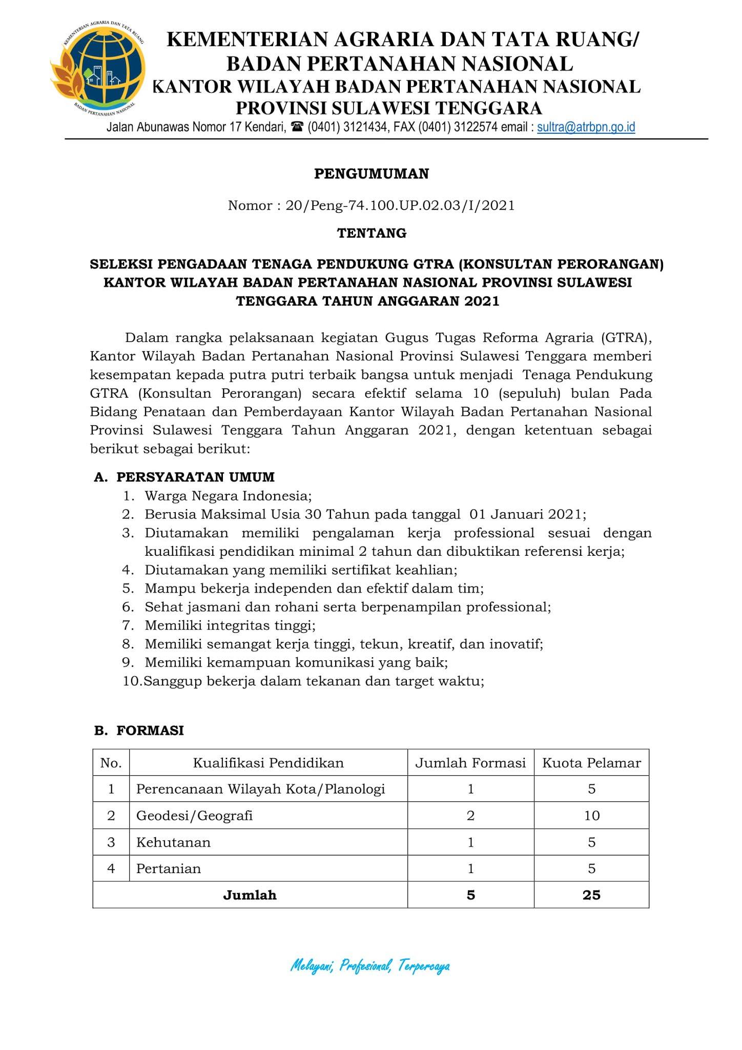 Lowongan Kerja Tenaga Pendukung Kantor Kementerian Agraria Dan Tata Ruang Januari 2021 Rekrutmen Lowongan Kerja Bulan Januari 2021