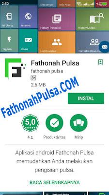 Instal aplikasi fathonah pulsa