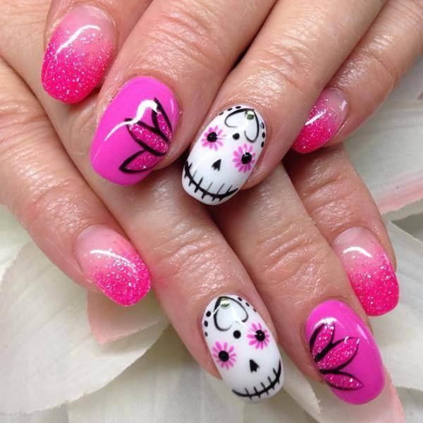 Floral Sugar Skull Nails Ideas