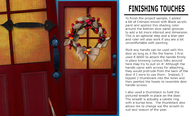 Learn how to make Annie Lang's FREE  Welcome Autumn Country Screen Door wood craft decoration because Annie Things Possible when you DIY!