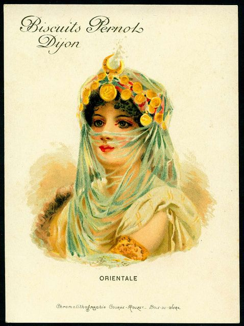 "Victorian era ""trade card"" Biscuits Pernois Dijon Orientale. Portrait of an exotic beauty. Jingles and other stories of The American Dream. marchmaton.com"