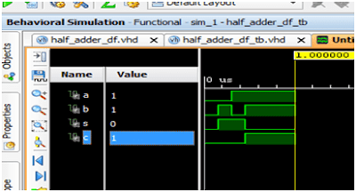 VHDL code for half adder using Dataflow   RTL Diagram , Simulation Code, Test Bench, Waveform   VHDL Complete Tutorial by TechWithCode