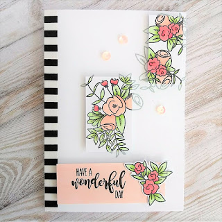 Card with Hello & Thanks stamp set from Wplus9