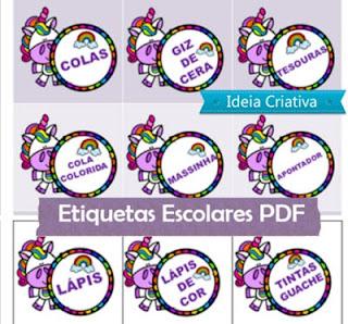 Etiquetas para materiais escolares tema Unicórnio
