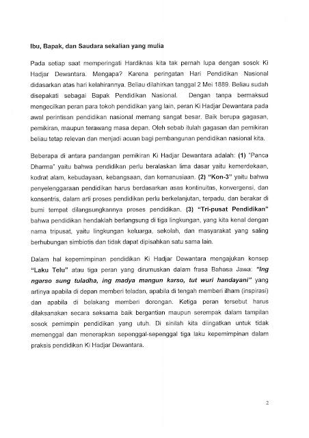 Pidato Sambutan Mendikbud Pada Upacara Hardiknas 2 Mei 2017