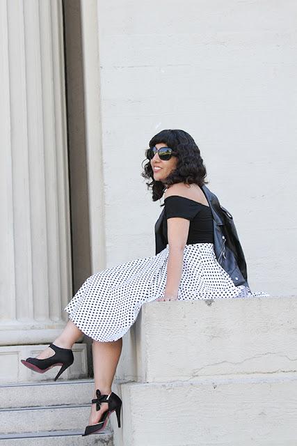 Black Tobi Bodysuit and KTR Collection Polka Dot Skirt Outfit