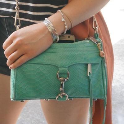 Rebecca Minkoff mini MAC in aquamarine with python embossed leather | AwayFromTheBlue