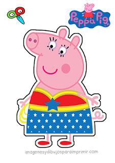 Peppa pig disfrazada de mujer maravilla