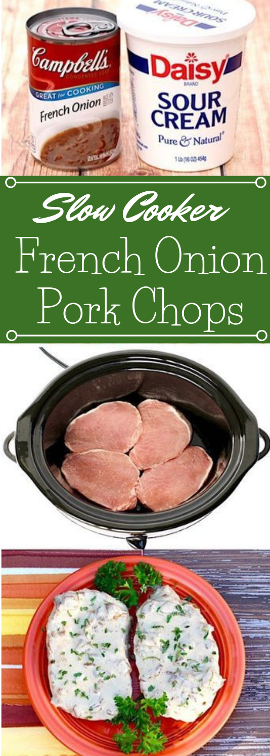 Crock Pot French Onion Pork Chops #recipes #healthydinner #lunch #easy #yummy