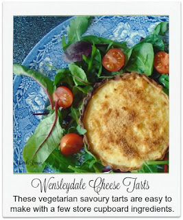 These wonderful vegetarian savoury open cheese tarts, made from Wensleydale cheese, are easy to make with a few store cupboard ingredients.