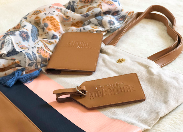Hallmark Tote Coloblok Camel - Adventure Passport Holder Luggage Tag Set - Floral Grey Scarf #LoveHallmarkCA