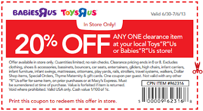"""7b10b158d78 Toys R Us and Babies R Us is offering 20% off one clearance item in store  and online. You can download the printable coupon here or use promo code  """"BLAST20"""" ..."""