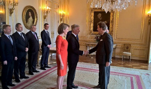 King Philippe and Queen Mathilde of Belgium held a royal reception for the newly appointed suppliers holding the 'Royal warrant of appointment' at Royal palace