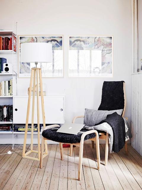 Podłogowe lampy drewniane z abażurem