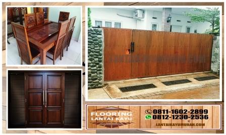 lantai kayu outdoor, pagar kayu ulin, meja makan kayu ulin, pintu kayu ulin