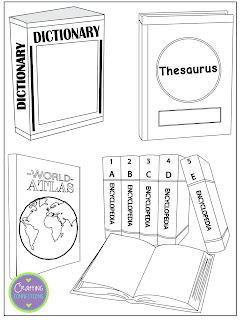 Reference Materials Craftivity... FREE! Students explain how they would use a dictionary, thesaursus, atlas, almanac, and encyclopedia to research for/write a report on the topic of their choice!