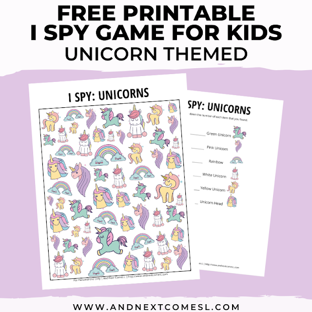 Free I spy game printable for kids: unicorn themed