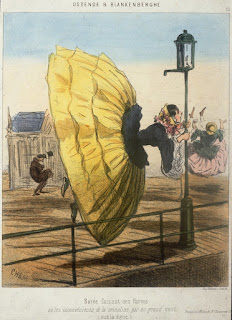 Dibujo satírico sobre el uso del miriñaque