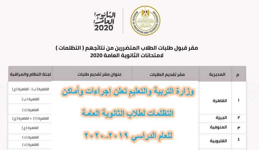 وزارة التربية والتعليم تعلن إجراءات وأماكن التظلمات لطلاب الثانوية العامة للعام الدراسي ٢٠١٩-٢٠٢٠