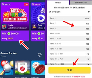 ludo game win prizes by rank play