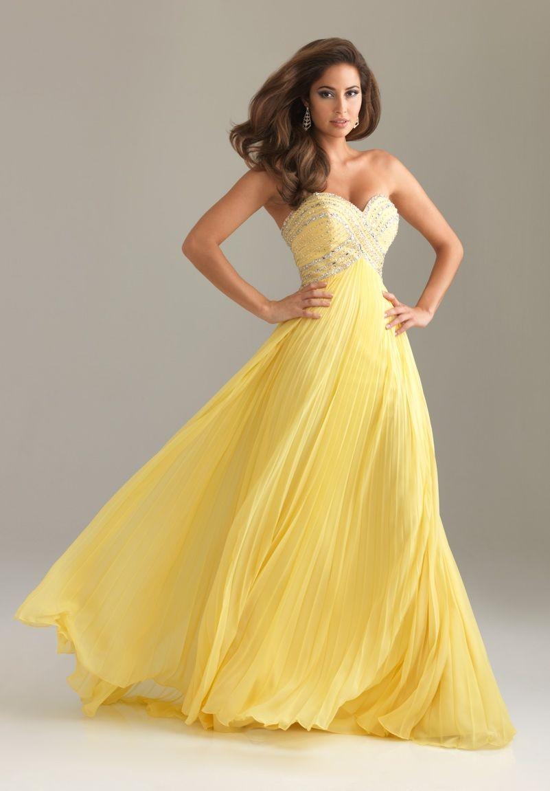 ALine Strapless Slit Long Prom Dresses with Pockets