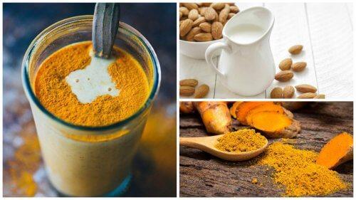 Recette de boisson anti inflammatoire au curcuma et au lait d'amande