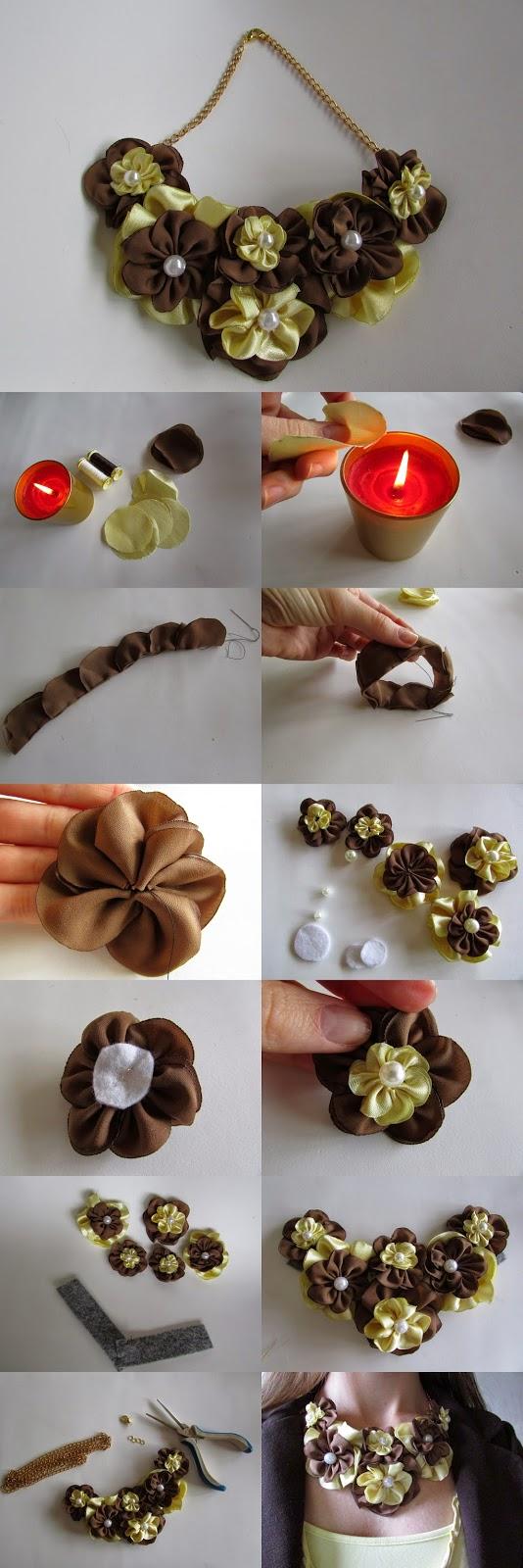 Infografía collar con flores de tela y perlas DIY