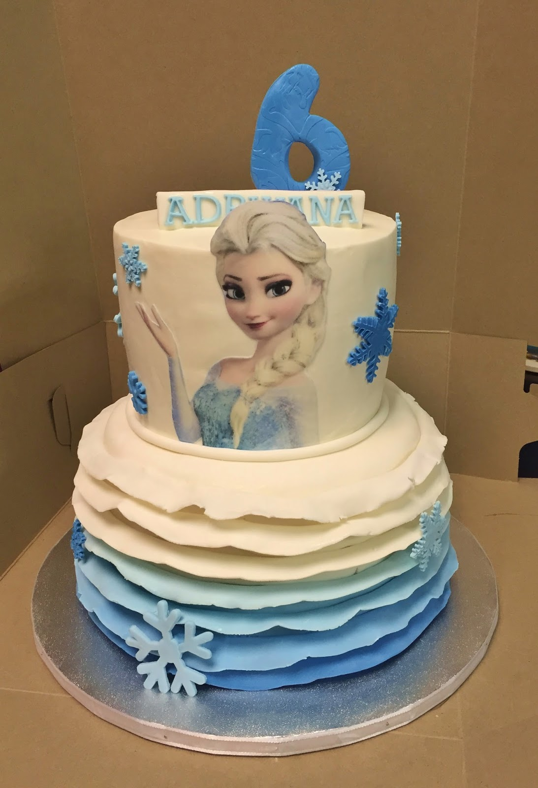 Cakes By Mindy Frozen Themed Ruffle Cake 6 Quot Amp 8 Quot