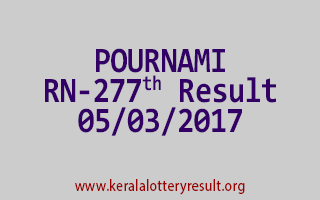 POURNAMI Lottery RN 277 Results 5-3-2017