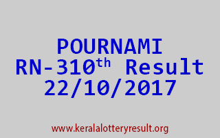 POURNAMI Lottery RN 310 Results 22-10-2017